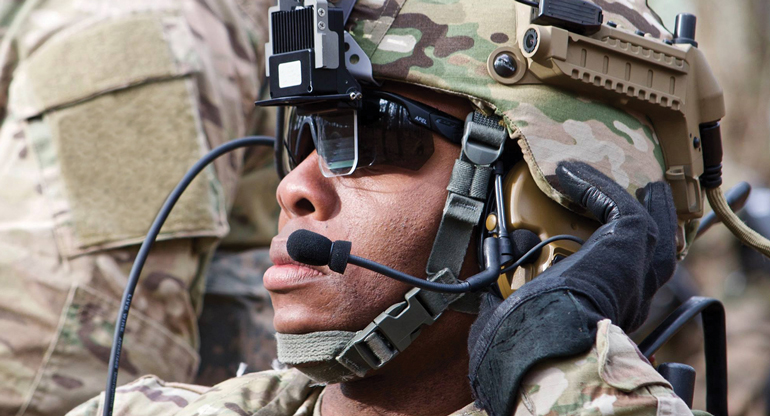 close up of soldier on headset