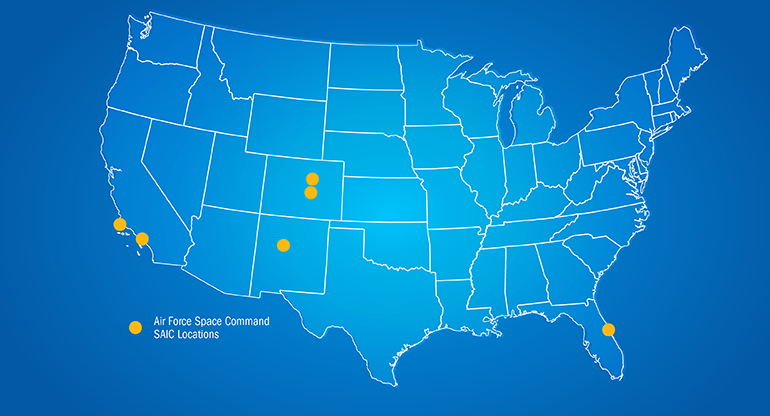 A map of the United States, showing SAIC Space Command locations in Virginia, Kansas, Colorado, New Mexico, and California.