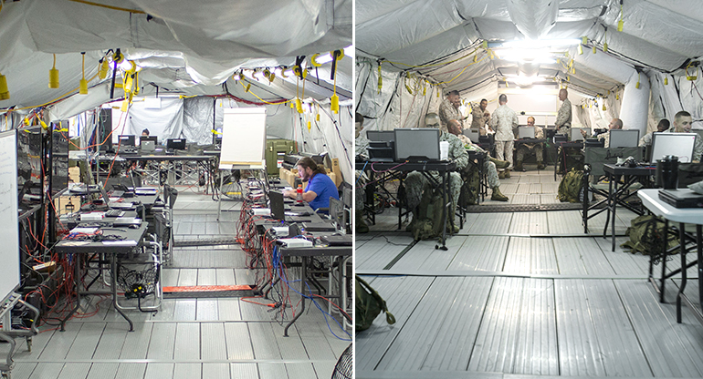 two photos side by side of interior shot of coc tent. (left empty/right with soldiers)